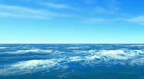 蓝天白云海水 海浪